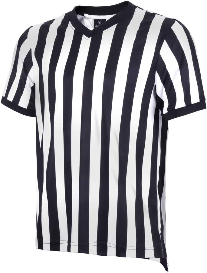 allentian Men's Referee Shirt - Official Black & White Stripe Referee/Umpire Jersey – Pro-Style V-Neck Referee Uniform, Great for Basketball, Football, Soccer: Sports & Outdoors