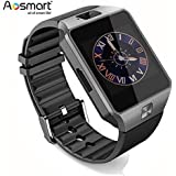 Bluetooth Smart Watch with Camera, Aosmart DZ09 Smartwatch for Android Smartphones - Black