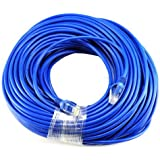 BLUE Gold Plated 50FT CAT5 CAT5e RJ45 PATCH ETHERNET NETWORK CABLE 50 FT For PC, Mac, Laptop, PS2, PS3, XBox, and XBox 360 to hook up on high speed internet from DSL or Cable internet.