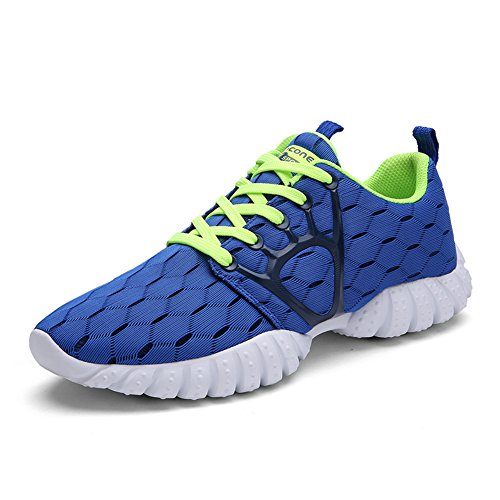GOMNEAR Running Shoes Men Lightweight Non-Slip Lace-up Breathable Athletic Fashion Sport Sneakers by Royal Blue