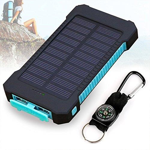 Solar Ladegerät, 10000mAh Dual USB Port Externe Akku, Wasserdichtes Staubdicht und Stoßfeste Tragbare Energienbank Handy-Ladegerät mit LED Licht für Camping Wandern und andere Outdoor Aktivitäten (Blau)