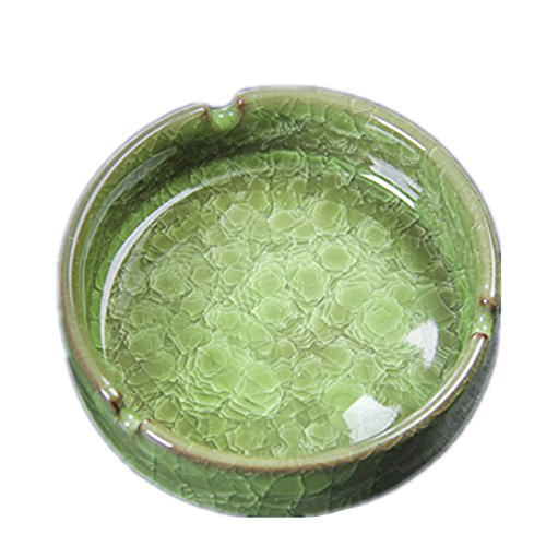 YOURNELO Creative Ceramic Cracks Pattern Cigarette Ashtray (Green) ()