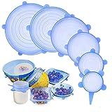 Tapas elásticas de silicona, GLURIZ 6 Piezas envoltura plástica reutilizable alternativa, fundas de ahorro, Coberturas de comida para cubetas y recipientes de almacenamiento (Azul claro)