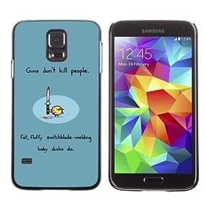 Licase Hard Protective Case Skin Cover for Samsung Galaxy S5 - Guns & Ducks