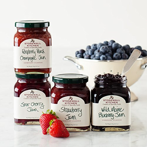Stonewall Kitchen Favorite 4 Piece Jam Collection Includes Raspberry Peach Champagne Jam, Strawberry Jam, Wild Maine Blueberry Jam and Sour Cherry Jam -
