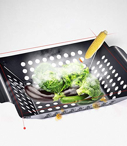 Haga BBQ Basket Barbecue Grill Pan Black Non Stick Square Barbecue Basket Tray Vegetables and Fish Grill Basket BBQ Accessories Tool Set 30cm No- Stick