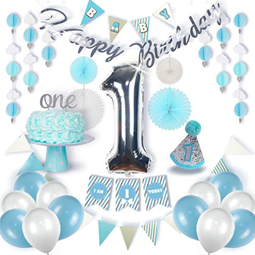 Premium 1st Birthday Boy Decorations | First Bday Number 1 Balloon | Happy Birthday & Highchair Banner | Blue, White, Silver, Grey Party Supplies | Hat 1st Birthday | ONE Cake Topper | Tissue Fans