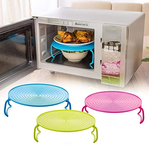 BeesClover Multifunction Oven Shelf Insulated Heating Tray Rack Bowls Holder Organizer Kitchen Accessories 3 Colors Drop Shipping Pink