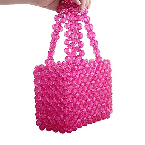 Women Beaded Bag Transparent Acrylic Tote Bags Handmade Weave Crystal Pearl Bags for wedding party (ROSE)