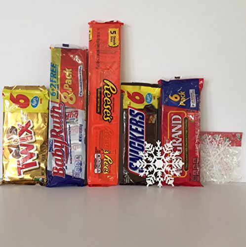Chocolate Candy Fun Bar Pack (5): 1-Reese's, 1- Snickers ,1- Babe Ruth, 1-Twix, and 1- 100Grand Bar (5-8 per pkg)+ a Free Set of 5 White Christmas Snowflake Ornaments by Xmas Decor (Total 31 bars)