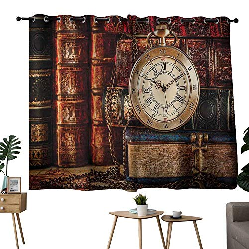 (NUOMANAN Curtains Antique,Nostalgic Classic Pocket Watch on The Background of Old Books Dated Archive Photo,Multicolor,Thermal Insulated Room Darkening Window Shade 52
