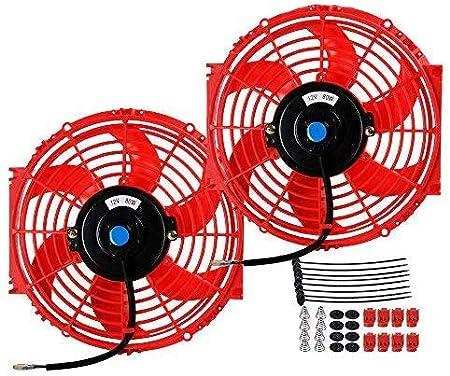 "2 X 12/"" Red Electric Slim Push Pull Engine Bay Cooling Radiator Fan Universal 2"