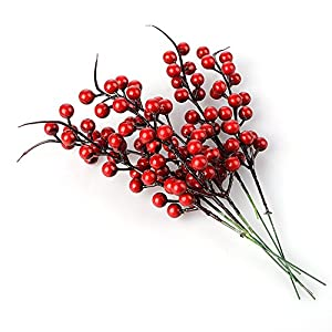 Red Berries, Pack of 20 Artificial Berry Stems Holly Christmas Berries for Festival Holiday Crafts and Home Decor, 10.24 Inches 63