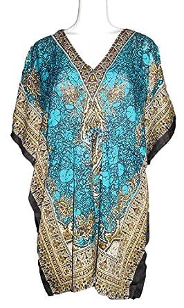 Women's Kaftan Short Dress Swim Suit Cover up (Azure Blue/Tribal) at