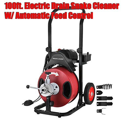 Electric Drain Snake Cleaner Portable 100FT x 3/8'' Power-Feed Cable Commercial Drum Drain Heavy Duty Cleaning Machine - Skroutz by Skroutz