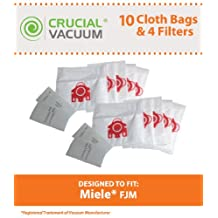 10 Miele FJM Deluxe Cloth Bags & 4 Filters, Fits Miele Vacuum FJM Vacuum Bags, Designed & Engineered by Crucial Vacuum