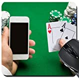 MSD Suqare Mousepad 8x8 Inch Mouse Pads/Mat design 34814817 l casino online gambling technology and people concept close up of poker player with