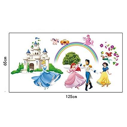 Vivero Habitaci/ón de los Ni/ños Removible Etiquetas de la pared ufengke/® Bella Princesa Encantadores Enanos y Castillo de la Historieta Pegatinas de Pared Murales