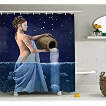 Astrology Decorations Shower Curtain Set By Blnoui, Aquarius Lady With Pail in The Sea Water Signs Saturn Mystry At Night Stars, Bathroom Accessories, Blue Dark Blue