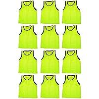 BlueDot Trading Adult Sports Pinnies chalecos de entrenamiento de scrimmage (paquete de 12), amarillo