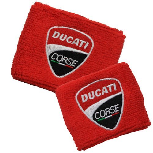 Ducati NEW Corse Red Brake and Clutch Reservoir Cover by MotoSocks Set Fits 748, 749, 848, 848 Evo, 916, 996, 998, 959, 1199, 1299, ST2, ST3, ST4, Streetfighter, Hypermotard, ()