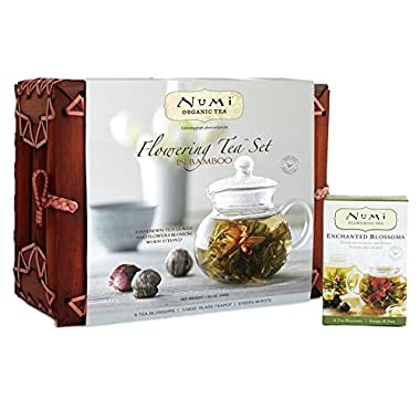 Organic Tea Flowering Gift Set in Handcrafted Mahogany Bamboo Chest: Glass Teapot & 6 Flowering Tea Blossoms