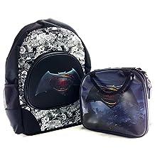 "DC Comics Batman Boys 16"" Canvas Black School Backpack w/Insulated Lunch Bag"