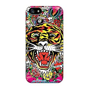 Iphone 5/5s UXz9669YgtE Provide Private Custom HD Ed Hardy Tiger Image Durable Cell-phone Hard Cover -JohnPrimeauMaurice