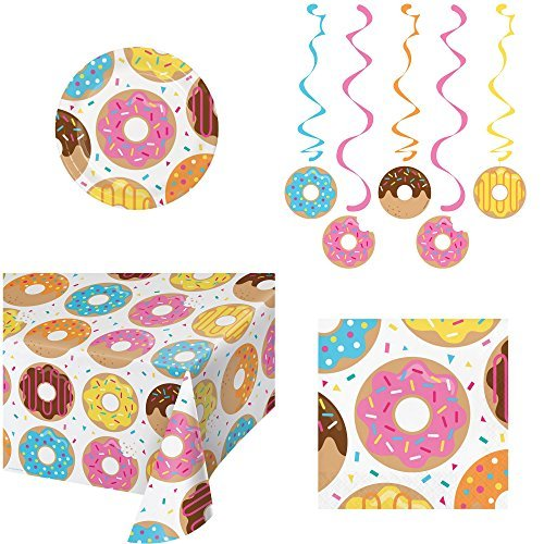 Donut Time Party Supply Bundle Serving 16 People Including Plates, Napkins, Table Cover and Danglers