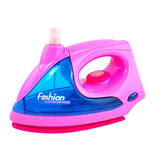 Toy Iron For Kids Pretend Play Ironing Toy Pink Battery Operated With Lights