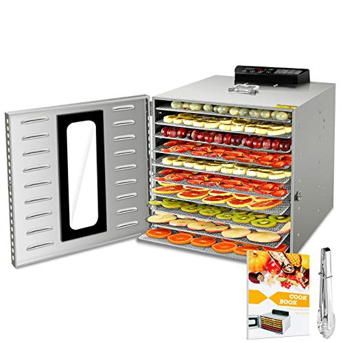 10 Layers Commercial Stainless Steel Food Dehydrator for Food and Jerky Fruit Dehydrator, Professional Jerky Maker Dryer with Adjustable Time and Temperature Control and 67 Recipes