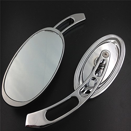 HTT Oval Shape Custom Chrome Mirrors Fit all Harley-Davidson models: Softail/Fat Boy/Road KingTexas Chopper/Big Dog/Titan/Iron Horse/Ultra and any Custom Application Harley Oval Mirror