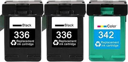 KA - Cartuchos de Tinta remanufacturados HP 336 342, Compatible con HP Photosmart C3180 2575 2570 C3100 C4100 8150 HP PSC 1410 1315 HP Deskjet 5440 6310, Color 3 Pack: Amazon.es: Oficina y papelería