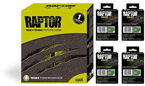 Raptor UP5063 Truck Bed Liner 1US Gallon + 4 Green Colors Bundle