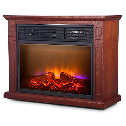 Della 1500W Infrared Quartz Deluxe Fireplace Heater Flame Mantel w/ Caster w/ Remote, Walnut | 1500W amzn_product_post Della Della Deluxe Fireplace Flame Heater Infrared Infrared Heaters Infrared Heaters Quartz Remote W Walnut