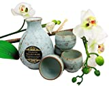 Atlantic Collectibles Japanese 9oz Ceramic Ocean Blue Cherry Blossoms Sake Set Flask With Four Cups