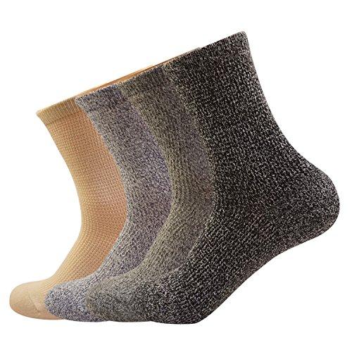 Mens Cotton Crew Dress Socks Pure Color Casual Knit Non Slip Comfy Retro Socks 4Pack