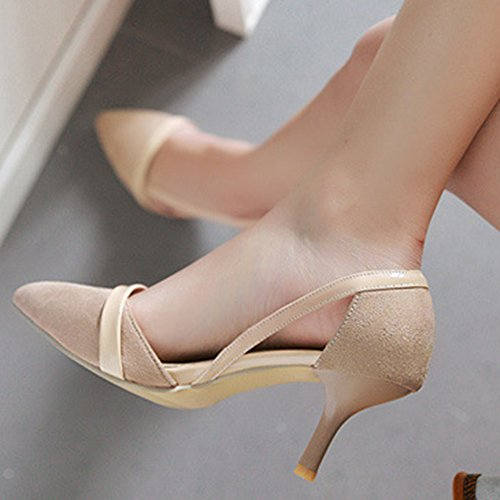 Slip Aisun Sandals On Womens Shoes Apricot Dorsay Dress Toe Pointed Heels Stiletto Elegant Kitten 1fz1qwrxR
