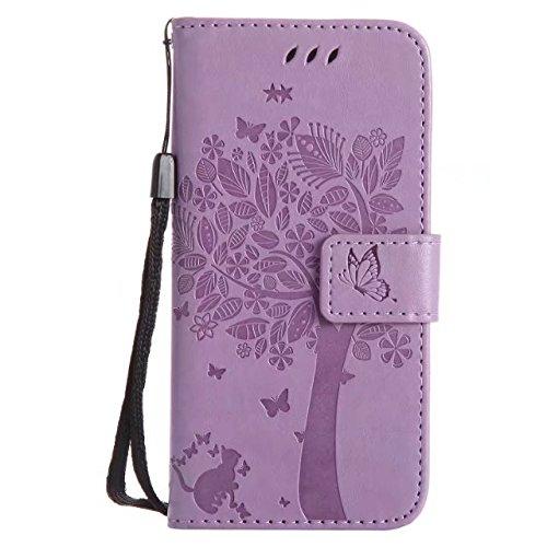 EKINHUI Case Cover Solid Color Premium PU-Leder-Etui Prägung Muster Flip-Standplatz Fall Deckung mit Karte und Bargeld Schlitze für iPhone 6 6s 4,7 Zoll ( Color : Lavender )