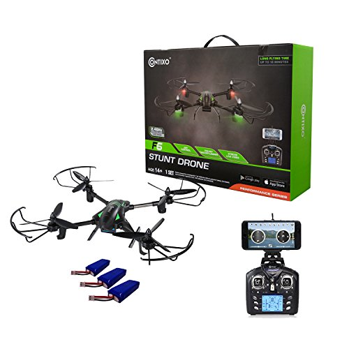 Contixo F6 RC Quadcopter Racing Drone 2.4Ghz W/ 720P Rotating HD Camera, FPV Live Feed, Headless, 3 Batteries Included, Mobile App, Hover, VR Ready - Best Gift