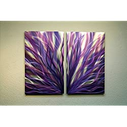 Metal Wall Art, Modern Home Decor, Abstract Wall Clock- Radiance Purple 31 by Miles Shay