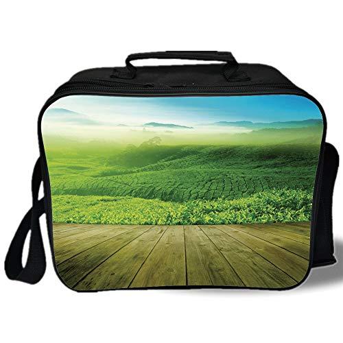 Green 3D Print Insulated Lunch Bag,Wood Platform Landscape View of Tea Plantation with Blue Sky in Morning Decorative,for Work/School/Picnic,Sky Blue Green Brown