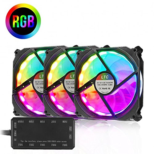 LTC 120mm LitSun 3-Pack RGB LED Cooling PC Computer Case Fan Silent High Airflow Color Adjustable Light Speed Controllable