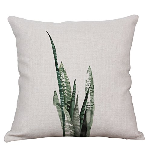 YeeJu Green Fern Leaf Decorative Throw Pillow Case Cushion Covers Square Cotton Linen Nordic Style Couch Pillow Cases 18x18 Inch