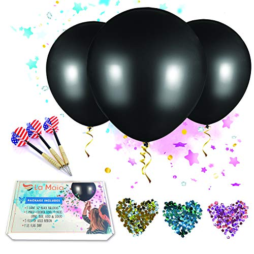 |8 Items Included| - 3 Giant 36 Inches Black Latex Baby Gender Reveal Balloon + 3 Glitter Balloon Confetti Packs + 5ft Gold Ribbon & 1 USA Flag Dart | Perfect Balloons Kit for Girl, Boy or Twins Gende