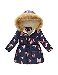 KONFA Teen Toddler Baby Girls Winter Warm Clothes,Fur Hooded Cotton Down Jacket Coat,Kids Butterfly Print Snowsuit Set Khaki