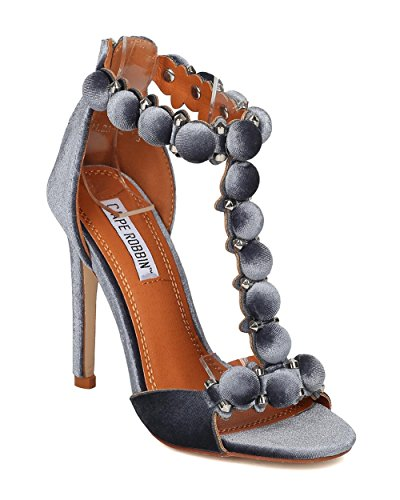 ROBBIN Stiletto Heel Grey Stiletto Heel Strap CAPE Stud Button Sandal by Sandal Studded Velvet Women T HK04 fPddIq1