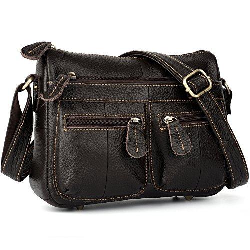 - YALUXE Women's Crossbody Shoulder Bag Multi Zipper Pocket Cowhide Leather Mini Size Small Dark Brown
