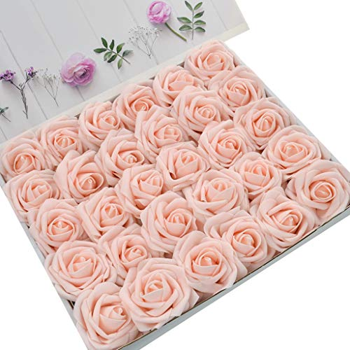 DerBlue 60pcs Artificial Roses Flowers Real Looking Fake Roses Artificial Foam Roses Decoration DIY for Wedding Bouquets Centerpieces,Arrangements Party Home Decorations (Blush)