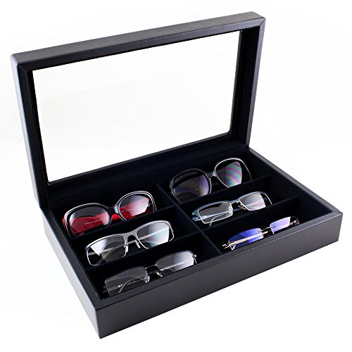 Caddy Bay Collection Large Sunglasses Case Display Storage Box with Glass Top Holds 6 - Bay Sunglasses